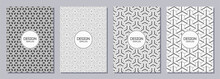 Set Of Flyers, Posters, Banners, Placards, Brochure Design Templates A6 Size With Japanese Triple Ornaments. Graphic Design For Greeting, Invitation Cards. Vector Black And White Backgrounds.