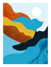 Textured Poster With Nature. Abstract Art With Mountain, Wavy Figure And Sun. Design Element For Printing On Clothes And Decorating Wall. Cartoon Flat Vector Illustration Isolated On White Background