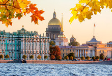 St. Petersburg Cityscape With St. Isaac's Cathedral, Hermitage Museum And Admiralty In Autumn Sunset, Russia