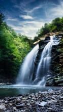Long Exposure Waterfalls In Sakarya Turkey, Long Exposure Mountain Waterfall Vertical Scene, Waterfall In Mountains, Mountain Waterfall, Hidden Waterfall In Tropical Jungle In Turkey