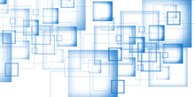 Modern Blue Squares Design Background. Can Be Use For Business Corporate Presentation Background And Futuristic Technology Concep