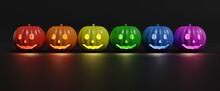 Halloween Still Life. LGBT Flag With Pumpkins On Dark Background. 3d Illustration.