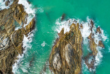 Aerial View Top Down Seashore Wave Crashing On Seashore Beautiful Turquoise Sea Surface In Sunny Day Good Weather Day Summer Background