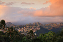 Residential Area In The Hills And Mountains Behind Waikiki, Oahu, Hawaii At Sunset