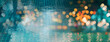 blur light of bar or pub reflection on blue water swimming pool summer party at night banner background