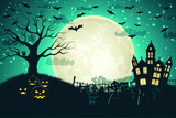 halloween night moon composition with glowing pumpkins vintage castle bats flying cemetery flat