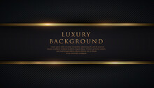 Luxury Black Stripe With Gold Border On The Dark Background. VIP Invitation Banner. Premium And Elegant. Vector Illustration.