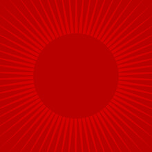 Sunlight Rays Retro Background With Round Frame For Text. Bright Red Color Burst Background.