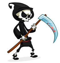 Grim Reaper Cartoon Character With Scythe. Halloween Skeleton Design For Party Invitation Or Poster. Vector Isolated