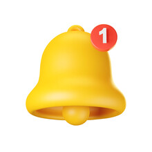 3d Notification Bell Icon Isolated On White Background. 3d Render Yellow Ringing Bell With New Notification For Social Media Reminder. Realistic Vector Icon
