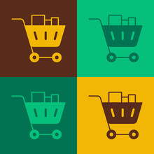 Pop Art Shopping Cart And Food Icon Isolated On Color Background. Food Store, Supermarket. Vector