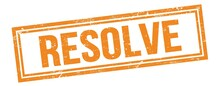 RESOLVE Text On Orange Grungy Vintage Stamp.