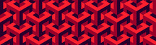 Seamless Vector 3D Pattern With Optical Illusions. Cubes. Op Art. Template For Fabric Or Wrapping. Modern Textile. Psychedelic Geometric Design. Stylish Background. Wallpapers. Red And Black. 3D Tiles
