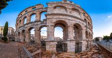 Arena Pula. Roman Amphitheater In Pula Historic Ruins View
