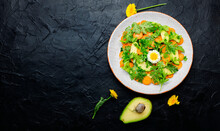 Diet Salad With Chrysanthemum Leaves And Avocado