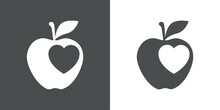 Símbolo De Comida Sana. Logotipo Silueta De Corazón Dentro De Manzana En Fondo Gris Y Fondo Blanco