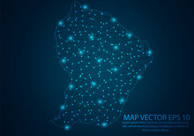 Abstract Mash Line And Point Scales On Dark Background With Map Of French Guiana.3D Mesh Polygonal Network Line, Design Sphere, Dot And Structure. Vector Illustration Eps 10.