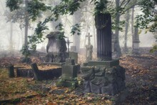 Old Tombstones Covered With Leaves At The Evangelical Cemetery In Plock On A Foggy, Autumn Day