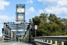 Bridge With Green Traffic Lights In City