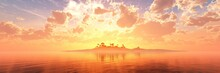 Tropical Island With Palm Trees In The Ocean At Sunset, Beautiful Sea Sunset, Ocean Sunrise Among The Clouds, Light Above The Water Surface, 3D Rendering