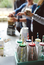 Smoothie Making With Vintage Bottles And Straws