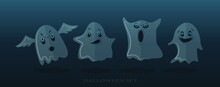 Ghost Shadow Funny. Ghost Sheet For Halloween Character Design. Isolated Vector Illustration. Funny Set  Ghosts For Halloween. Happy Halloween, Ghost, Scary. Cute Cartoon Spooky Character.