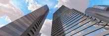 Skyscrapers In The Sky, High-rise Modern Buildings Against The Sky With Clouds, 3D Rendering