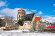 canvas print picture - Blick auf die Nikolaikirche im Winter in der Hansestadt Rostock