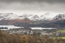 The Cat Bells Mountains Beyond Derwent Water In The Lake District, UK.