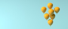 Floating Balloons On A Colored Background - 3D Render