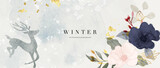 Winter background design  with watercolor brush texture, Flower and botanical leaves watercolor hand drawing. Abstract art wallpaper design for wall arts, wedding and VIP invite card.  Vector EPS10