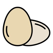 Two Whole Egg Icon. Outline Two Whole Egg Vector Icon Color Flat Isolated