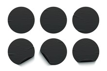 Glued Round Black Stickers Set Isolated On White Background. Vector Realistic Crumpled Posters Bundle. Empty Advertising Circles Mockup