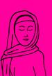 Kontur kobiety na różowym tle.