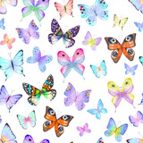 Seamless botanical summer pattern with colorful watercolor butterflies