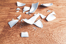 Splinters Of A Shattered Plate. Shards And Pieces Of A Broken Dish