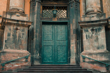 Gothic Style Church Exterior Entrance Door Facade Side Architecture Landmark Object Frame Work Picture