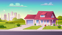 Village Or Country Street With Suburban House, Residential Cottage, Exterior.Two Storey Dwelling Place With Garage,lawn