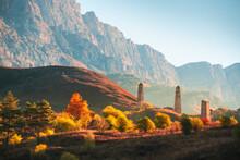 Old Stone Tower Complex In Erzi National Park In Ingushetia, Caucasus, Russia. Beautiful Autumn Landscape At Sunrise.