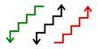 strzałka, wykres, schody ikona