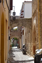 Architecture Of Old Town On Rhodos In Greece