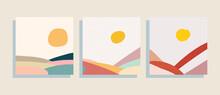 Hills Landscapes  Vector Illustration Set