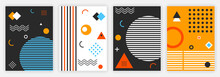 Set Of Cover Design. Images For Music Albums. Abstract Pictures, Wallpapers For Smartphones. Patterns From Simple Shapes, Regular Shapes, Space. Flat Vector Illustrations Isolated On White Background