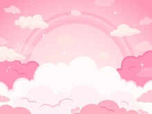 Pink Fairytale Sky Background With Stars And Rainbow. White And Pastel Color Clouds For Imaginary World