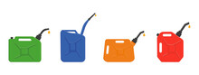 Gasoline Jerrycans With Leaking Petrol Drops. Set Of Gas Canisters, Fuel Containers Isolated On White Background. Vector Cartoon Illustration.