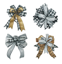 Watercolor Black And White Ribbon, Buffalo Plaid Bow Collection, Farmhouse Style Bow Isolated On The White Background, Stripped Birthday Bow Illustration, Wrap Gift Ribbon Set