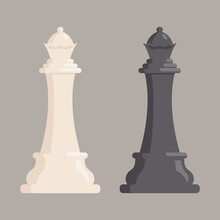 Classic Chess Queen. Black And White Pieces In Cartoon Style