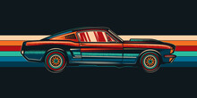 Original Vector Illustration Of A Vintage Car On A Retro Background. T-shirt Design.