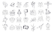 Collection Of Mystical And Astrology Objects. Mystical Signs, Silhouettes, Zodiac Signs. Astrological And Magical Elements Are Isolated On A White Background. Astronomy. Line Art Illustrations