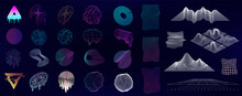 Retrofuturism And Memphis Vaporwave Geometric Shapes, Elements, Texture With Glitch And Liquid Effect. Retro 80s And 90s Cyberpunk Abstract Shapes. Universal Trendy Shapes. Vector Collection
